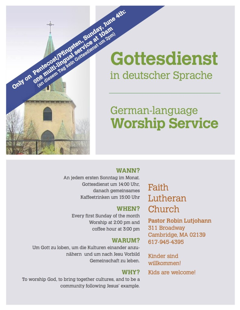Flyer for German Worship